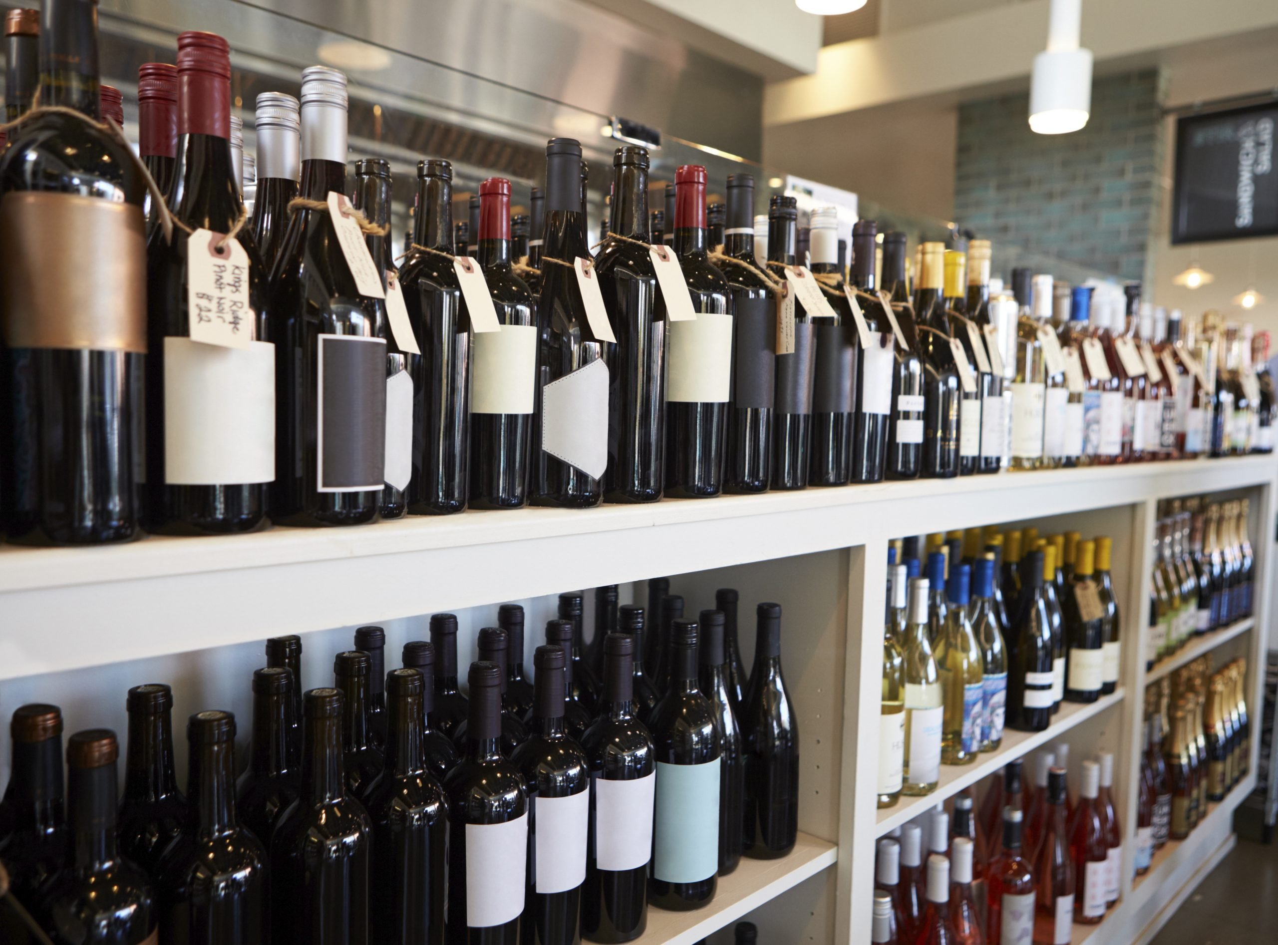 Display of a liquor store's wine section