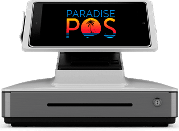 Paradise Point-of-Sale (POS) system with built-in printer and cash drawer front view