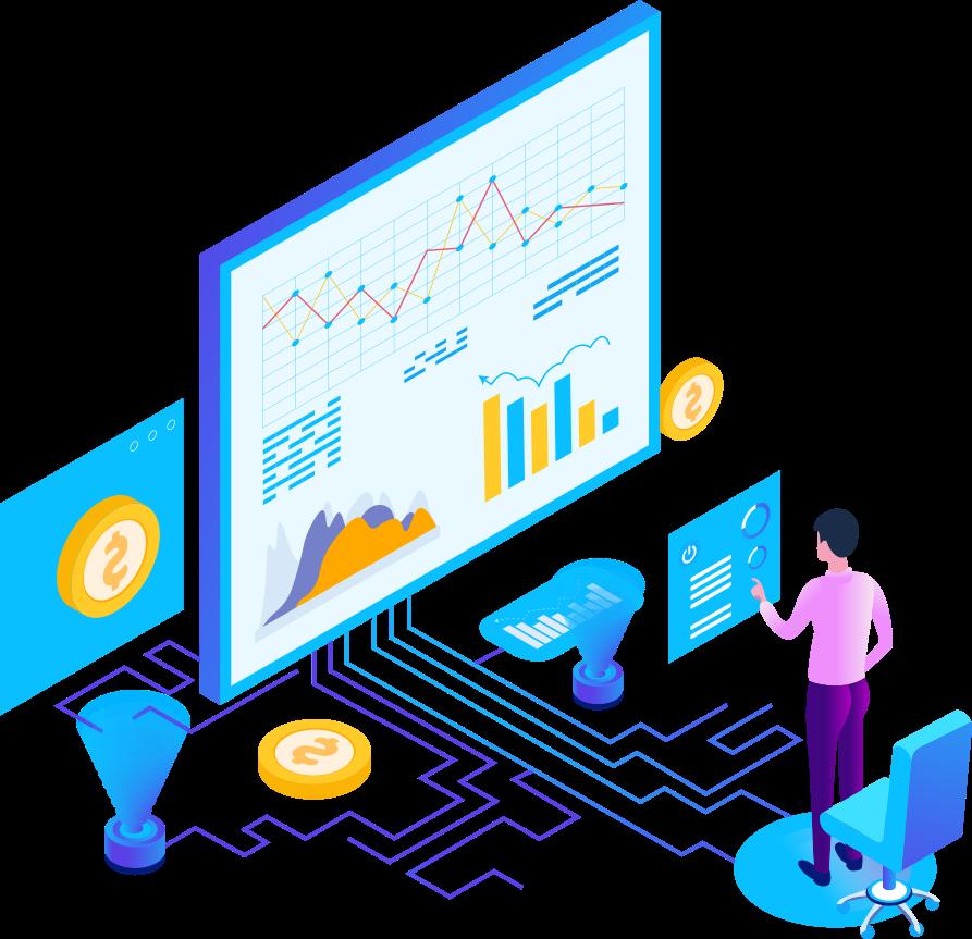 Merchant processing savings analysis isometric graphic