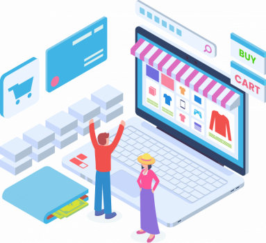 Isometric graphic of an online store with an eCommerce gateway for payment processing